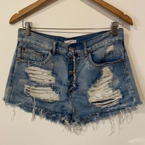 Supre' Distressed Shorts Button Fly Size AU 10 100% Cotton Pre Owned EC